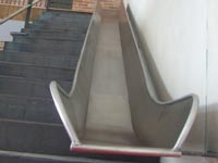 Mild steel staircase with slide.