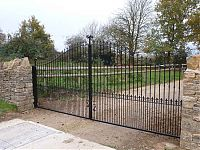 A bespoke gate fabricated and covered with a two pac resin paint.