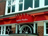 The finished sign in place at Barefoot Books, Summertown, Oxford