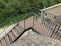 The bridge platform at the top of a bespoke fabricated steel staircase